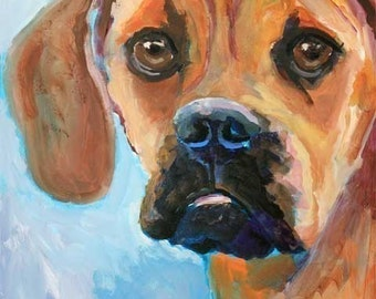 Puggle Art Print of Original Acrylic Painting - 8x10 Dog Art