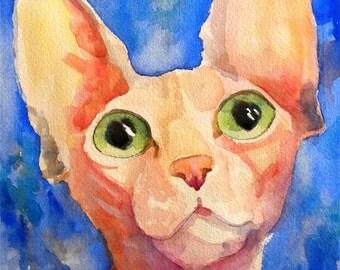 Sphynx Cat Art Print of Original Watercolor Painting 8x10