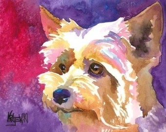 Yorkshire Terrier Art Print of Original Watercolor Painting - 8x10 Yorkie