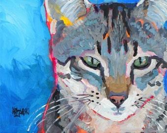 Tabby Cat Art Print of Original Acrylic Painting - 11x14 Cat Art