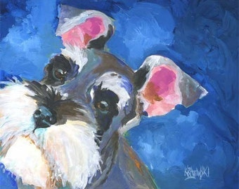 Miniature Schnauzer Art Print of Original Acrylic Painting - 8x10