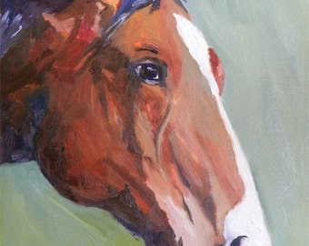Bay Horse with Blaze Signed Art Print of original oil painting 8x10