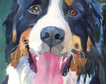 Bernese Mountain Dog Art Print of Original Watercolor Painting 8x10