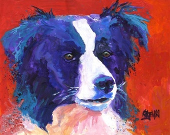Border Collie Art Print of Original Acrylic Painting - 8x10 Dog Art