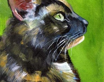 Tortie Cat Art print of Original Acrylic Painting - 11x14