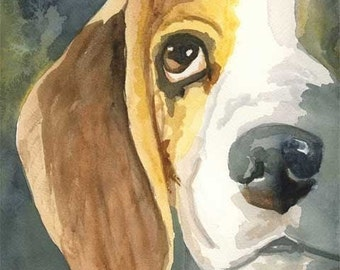 Beagle Art Print of Original Watercolor Painting - 11x14 Dog Art
