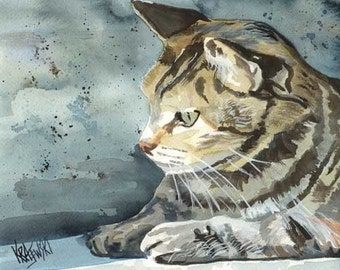 Tabby Cat Art Print of Original Watercolor Painting - 8x10 Cat Art