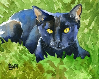 Black Cat Art Print of Original Watercolor Painting  - 8x10
