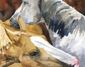 Grooming Horses Art Print of Original Watercolor Painting 8x10