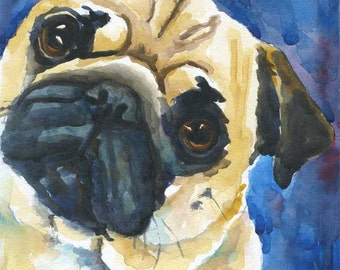 Pug Dog Art Print of Original Watercolor Painting - 11x14