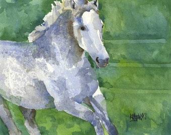 Gray Horse Art Print of Original Watercolor Painting 8x10