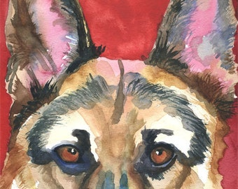 German Shepherd Art Print of Original Watercolor Painting - 8x10