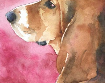 Basset Hound Art Print of Original Watercolor Painting - 8x10 Signed by Artist - Dog Art