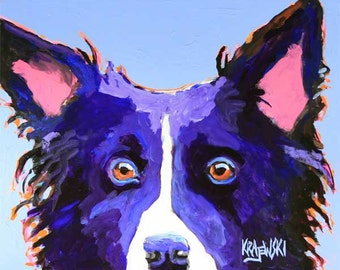 Border Collie Art Print of Original Acrylic Painting - 8x10 Dog Art