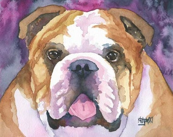 English Bulldog Art Print of Original Watercolor Painting - 11x14