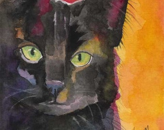 Black Cat Art Print of Original Watercolor Painting  - 8x10
