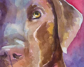 Labrador Retriever Art Print of Original Watercolor Painting - 8x10 Chocolate Lab