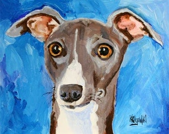Italian Greyhound Art Print of Original Acrylic Painting - 8x10