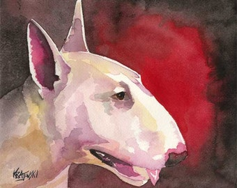 Bull Terrier Art Print of Original Watercolor Painting - 8x10