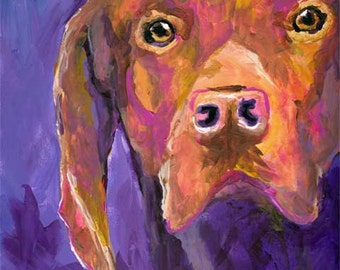 Vizsla Art Print of Original Acrylic Painting 8x10