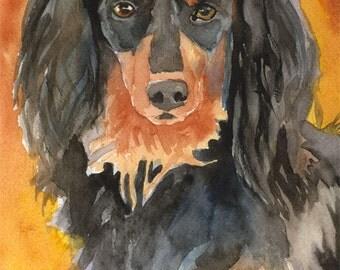 Dachshund Art Print of Original Watercolor Painting - 8x10 Dog Art