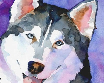 Siberian Husky Art Print of Original Watercolor Painting - 8x10