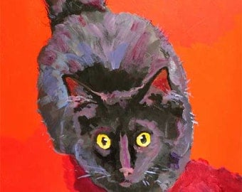 Black Cat Art Print of Original Acrylic Painting 8x10