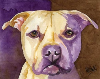 Pit Bull Art Print of Original Watercolor Painting - 11x14 Pitbull Dog Art