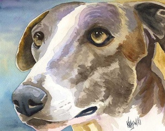 Greyhound Art Print of Original Watercolor Painting - 11x14 Dog Art