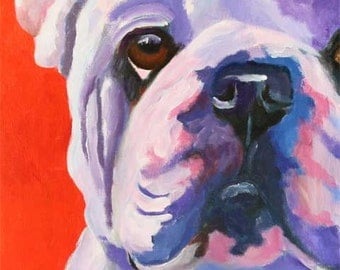 Bulldog Art Print of Original Acrylic Painting - 8x10