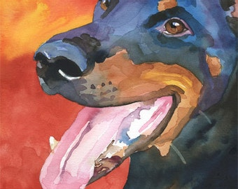 Doberman Pinscher Dog Art Signed Print by Ron Krajewski