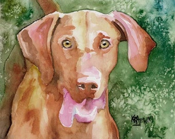Vizsla Art Print of Original Watercolor Painting 8x10