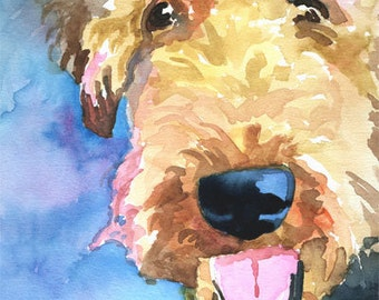 Airedale Terrier Art Print of Original Watercolor Painting - 8x10