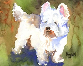 West Highland White Terrier Art Print of Original Watercolor Painting - 8x10