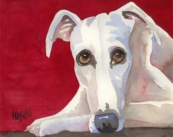 Whippet Art Print of Original Watercolor Painting - 8x10