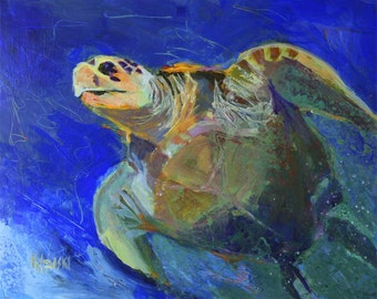Sea Turtle Art Print of Original Acrylic Painting - 8x10