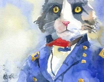 Civil War Cat Art Print of Original Watercolor Painting 8x10