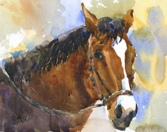 Trail Horse Art Print of Original Watercolor Painting 8x10