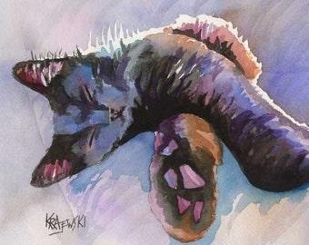 Sleeping Kitten Art Print of Original Watercolor Painting - 8x10 Cat Art