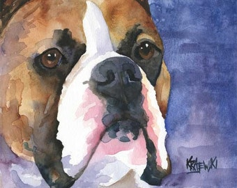 Boxer Art Print of Original Watercolor Painting - 11x14