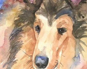 Collie Art Print of Original Watercolor Painting - 11x14