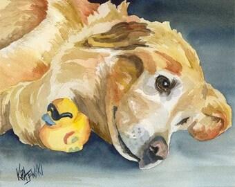 Golden Retriever Art Print of Original Watercolor Painting - 11x14