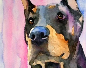 Doberman Pinscher Art Print of Original Watercolor Painting - 11x14