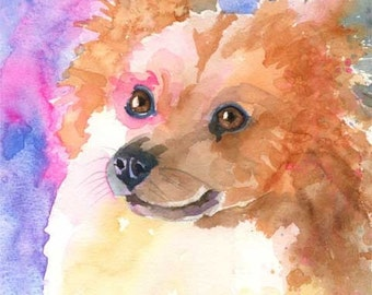 Pomeranian Art Print of Original Watercolor Painting - 11x14 Dog Art