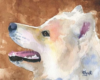 Samoyed Art Print of Original Watercolor Painting - 11x14 Dog Art