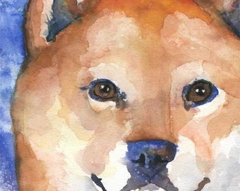 Shiba Inu Art Print of Original Watercolor Painting - 11x14