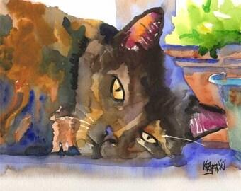 Tortie Cat Art Print of Original Watercolor Painting 11x14