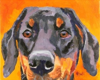 Doberman Pinscher Art Print of Original Acrylic Painting - 11x14