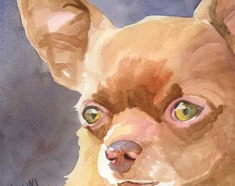Chihuahua Art Print of Original Watercolor Painting - 11x14 Dog Art