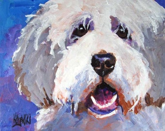 Bearded Collie Signed Art Print by Ron Krajewski